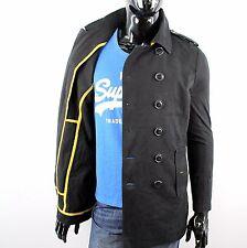 SUPERDRY hombre Talla S PUENTE SARGA COAT Chaqueta Abrigo Negro N1286