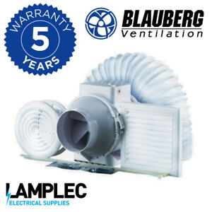 Blauberg Turbo Mixed Flow Shower Fan Kit with Timer, 187m3/hr High Speed Inline