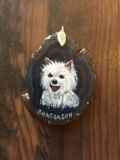 """Collectible 1.5""""x2.5"""" HAND WESTLAND TERRIER AGATE ORNAMENT by C. S."""