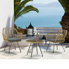 3pc Patio Garden Furniture Set Modern Rattan Chair Tempered Glass Coffee Table