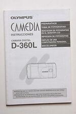 Olympus D-360L Digital Camera Instruction Manual Book - SPANISH - USED B40