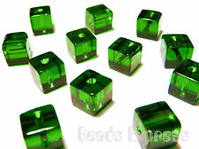 100pc 4mm Mini Crystal Glass Cube Beads - Green (BC4011)