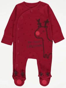 Baby My First Christmas Reindeer Sleepsuit Romper Babygrow