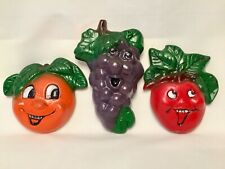 Vintage Anthropomorphic Fruit Chalkware Wall Hanging Plaques