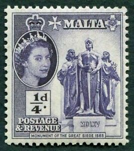 MALTA 1956-58 SG266 ¼d. MONUMENT OF THE GREAT SIEGE, 1565  -  MNH