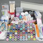 96 Acrylic Powder Liquid Nail Art Kit Glitter UV Gel Glue Tips Brush Set DIY AU