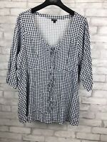 TORRID Women's Navy Gingham Challis Babydoll Top Lace up Ties Front Plus 4 28/30