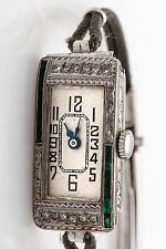 Antique 1930s 1.50ct French Cut Emerald Diamond 18k Gold Platinum Ladies Watch