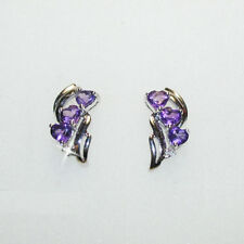 Triple Purple Amethyst Heart Diamond Dangle Earrings 14k White Gold Over 925 SS