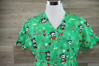 Disney Mickey/Minnie Mouse Christmas Scrub Top with ties Size Large Style47a962