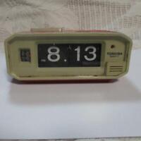 TOSHIBA TCQ-955 Flip alarm clock Vintage Retro Antique Japan Red 233