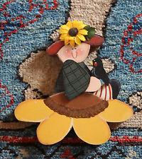 Wood Harvest Fall Thanksgiving Carved Handmade Handpainted Figurine Sunflower