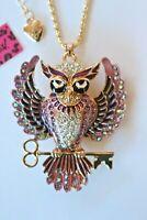 NEW! Betsey Johnson Crystal Rhinestone Enamel Beautiful Owl Key Necklace Pendant