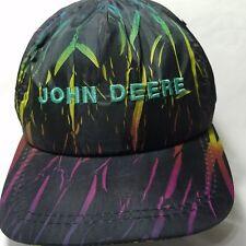 Vtg 1990's John Deere Hat Black Nylon Multi Colored K products Made in USA