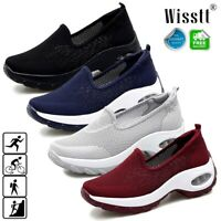 Women's Air Cushion Sneakers Breathable Mesh Walking Slip-On Low Top Shoes 35-43