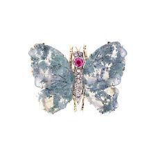 Antique Moss Agate Ruby Rose Cut Diamond Butterfly Brooch