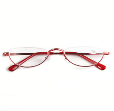 Half-rim metal Reading glasses Spring hinge for reader +1.0 to +3.5 Red Gold