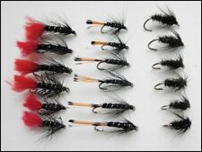 Wet Trout Flies, 18 Pack, Zulu, Black Pennel & Black & Peacock, Mixed Size