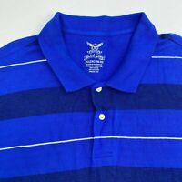 Faded Glory Polo Shirt Mens 2XL XXL Blue Short Sleeve Cotton Striped Hi Low hem