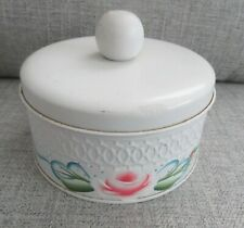 Shabby Chic Vintage White Tole Tin Powder Jar Covered Box- Handpainted Pink Rose