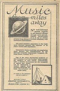 1922 MARCONI SCIENTIFIC INSTRUMENT-MUSIC FROM MILES AWAY ORIGINAL AD
