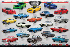 History of AMERICAN MUSCLE CAR EVOLUTION POSTER - 20 Classic Motown Sportscars