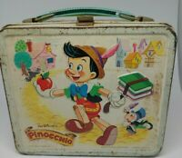 Vintage Walt Disney Pinocchio Metal Lunch Box No Thermos Aladdin 1971