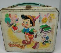 Vintage Walt Disney Pinocchio Metal Lunch Box No Thermos Aladdin 1971