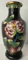 """Antique circa 1820-1920 Chinese Cloisonne Vase Peony & Butterfly 6.5"""""""