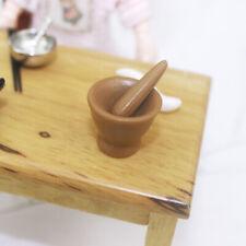 IG_ Dollhouse Miniature Artisan Cranberry Glass Mortar and Pestle Set Accessory