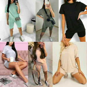 NEW Women's  Oversized T-Shirt and Cycling Shorts Active Ladies Gym sports Set