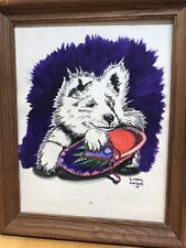 Vtg Mid Century Alaskan Malamute Dog Pen Ink Original Signed Art Puppy Moccasin