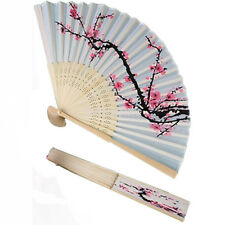 Unique Chinese Folding Hand Fan Japanese Cherry Blossom Design Silk Costume