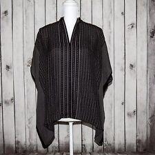 VINCE Women's 100% Silk Poncho Style Blouse Top Black Striped Size XS