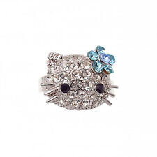 Kitten Kitty Cat Cocktail Ring Costume Jewelry Rhinestone Clear Blue Silver Tone