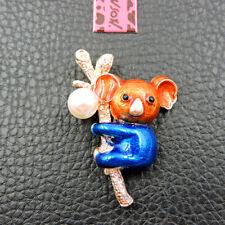 Rhinestone Koala Brooch Pin Betsey Johnson Blue Orange Crystal