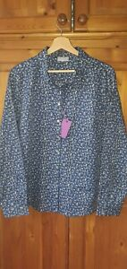 Brand New Ladies Cotswold Collections Blue Blouse Shirt Size UK 22 Liberty Print