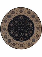 Hand Tufted All-Over Navy Blue Oushak Oriental Hand-Tufted 8' Round Wool Rug