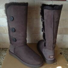 UGG BAILEY BUTTON TRIPLET TRIPLE CHOCOLATE BROWN TALL BOOTS SIZE US 10 WOMENS