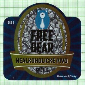 CZECH Nymburk Brewery Free BEAR new 2021 beer label B000 069