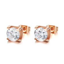 18K Rose Gold AAA White CZ Ear Studs Women's Gift Jewelry Wedding Party Earrings