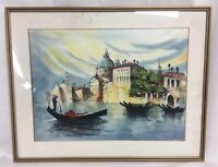 20th Century Oil On Canvas Venetian Scene Signed Mounted And Framed Painting
