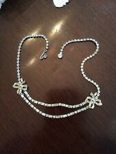 MARBOUX GLITZY DECO CLEAR RHINESTONES IN A DOUBLE BOW TIE DESIGN DRAP NECKLACE