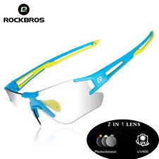 e1baa3863f4 RockBros Photochromic Cycling Sunglasses Sports Eyewear Uv400 Goggles Blue  Green