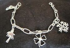 Sterling Silver 925 Lucky Charms Chain Bracelet Taxco Mex Tree Of Life