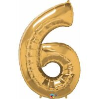 LARGE FOIL BALLOON NUMBER GOLD 6 BIRTHDAY PARTY SUPPLIES