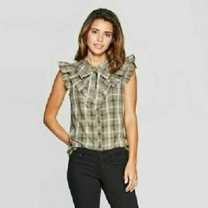 Universal Thread Women's Size XXL Plaid Sleeveless Button Up Ruffle Front Top