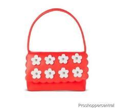 Cherokee Toddler Girls Satchel Handbag Purse - Coral Pink with White Flowers
