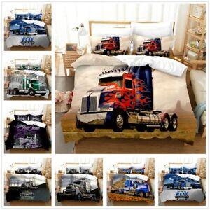 3D Giant Trucks Bedding Set 2/3PCS Duvet Cover Pillowcase 4 Size Single Double