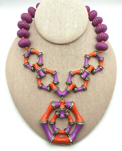 """HEIDI DAUS® """"Bamboozled"""" Crystal and Enamel Drop Necklace - Coral Color - NWT"""